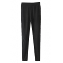 Black Laid Back Elastic Waist Patched Knees Pencil Pants
