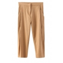 Plain Pleated Zipper Fly High Waist Harem Crop Pants
