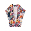 Rural Style Flower Print Short Sleeve Kimono