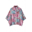 Batwing Sleeve Pink Background Opulent Flower Print Loose Shirt