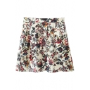 Mini High Waist White Background Flower Print Pleated Skirt