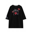 3/4 Sleeve Heart&Letter Embroidered Loose T-shirt
