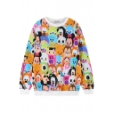Round Neck All Over Cartoon Character Print Sweatshirt