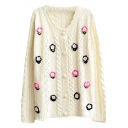 Flower Applique Cutout Style Crochet Round Neck Long Sleeve Cardigan