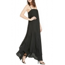 Black Sheer Double Tier Hem Maxi Dress