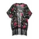 Short Sleeve Black Background Fuchsia Flower Print Fringe Hem Kimono