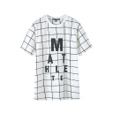 Checker Pattern Letter Print Midi White T-Shirt