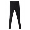 Five Button Waist Embellished Black Skinny Pants