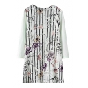 Vertical Stripe Elegant Flower Print Round Neck Cropped Sleeve Dress