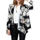 Black Background White Elegant Flower Print Asymmetric Hem Coat