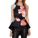 Lady Style Flower Print Ruffle Hem Racerback Sleeveless Blouse