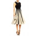 Fashionable Mesh Panel Color Block Chiffon A-line Dress