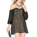Off-the-Shoulder Polka Dot Pattern Sheer Style Chiffon Column Dress