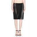 Back Split High Waist Black PU Pencil Skirt