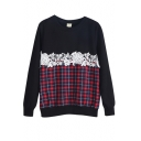 Cute Lace Crochet Inset Plaid Pattern Sweatshirt