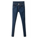 Plain Blue Skinny Zipper Fly Fitted Pencil Jeans