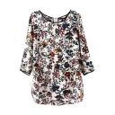 3/4 Sleeve Round Neck Floral Print Contrast Trim Blouse
