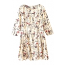 Beige Background Cafe&Human Print 3/4 Sleeve Pleated Dress