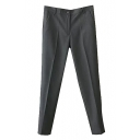 Suit Style Plain Single Button Pencil Pants