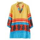 V-Neck Multi Color Geo-Tribal Print Loose Dress