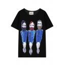 Three Bearded Men Print Short Sleeve T-Shirt