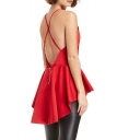 Red Cross Back Ruffle Hem Sleeveless Blouse