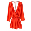 Wrap Front Backless Drawstring Orange Rompers