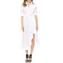 Asymmetric Hem Boyfriend Shirt Style Tea Length White Dress with Belt