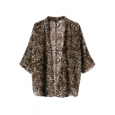 Brown Leopard Print 3/4 Sleeve Kimono
