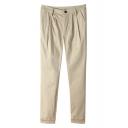 Plain Pencil Ankle-Cuff Cropped Pants