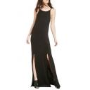 V-Back Spaghetti Strap Longline Double Split Hem Black Dress