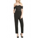 Side Pockets Plaid Pattern Bustier Jumpsuits