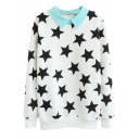 Contrast Collar Zip Back Sweatshirt in Star Print