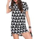 High-Low Hem Side Zip Slim Geometric Pattern Short Sleeve Dress