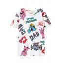 Cartoon Dog&Word Print White Short Sleeve T-Shirt