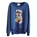Cute Owl Pattern Long Sleeve Dip Hem Sweatshirt with Side Zip