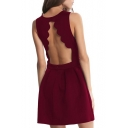 Petal Trim Backless Draped A-line Dress
