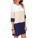 Back Keyhole Tri Color Block Style Slim Dress