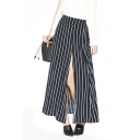 High Waist Vertical Stripe Front Split Longline Skirt