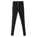 Tired Fold Waist Gold Zipper Fly Black Skinny Pants