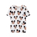 All Over Cartoon Mouse Print Short Sleeve White T-Shirt