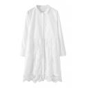 Shirt Style Lace Panel Hem White Dress