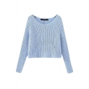 Raglan Sleeve Round Neck Cutout Detail Plain Cropped Sweater