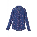 Blue Background Red Floral Print Midi Shirt