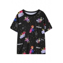 Cartoon Angel&Space Print Black T-Shirt