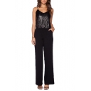 Spaghetti Strap V-Neck Sequins Embellished Top Panel Style Jumpsuits
