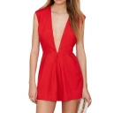Red Concise Sexy Plunge Neck Sleeveless Hidden Zipper Rompers