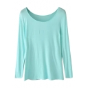 Plain Boat Neck Long Sleeve Fitted Cotton T-Shirt