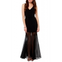 Black Chiffon Pleated Hem Skinny V-Neck Sleeveless Max Dress