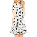 Mono Big Daisy Print Short Sleeve A-line Dress